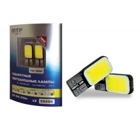 Лампы светодиодные LED w5w Т10 MTF Cob LED 5500K с Обманкой Canbus