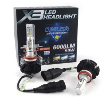 Светодиодные LED лампы X3 H11/H8/H9/H16 50W 6000Lm