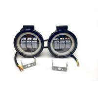 Светодиодная фара-прожектор 50W 10-30V с глазками круглая