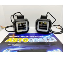 Светодиодная фара-прожектор 30W 10-30V с глазками квадрат