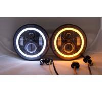 Фары LED светодиодные Нива / Нива Урбан / УАЗ с 2 линзами + ДХО + Поворотник