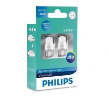 Лампы светодиодные LED w5w T10 Philips LEDVision 4000K