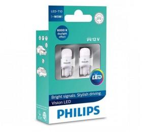 Лампы светодиодные LED w5w T10 Philips LEDVision 6000K