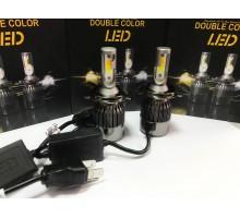 Светодиодные лампы C9S H4 Белый+Желтый 2 режима