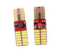 Лампа светодиодная w5w T10 24SMD 3014 с Обманкой