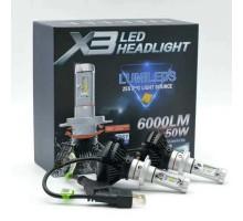 Светодиодные LED лампы X3 H7 50W 6000Lm