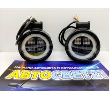 Светодиодная фара-прожектор 30W 10-30V с глазками круглая