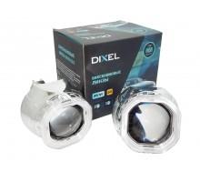 Биксеноновые линзы Dixel G4 H1 с ангельскими глазками (квадратные)